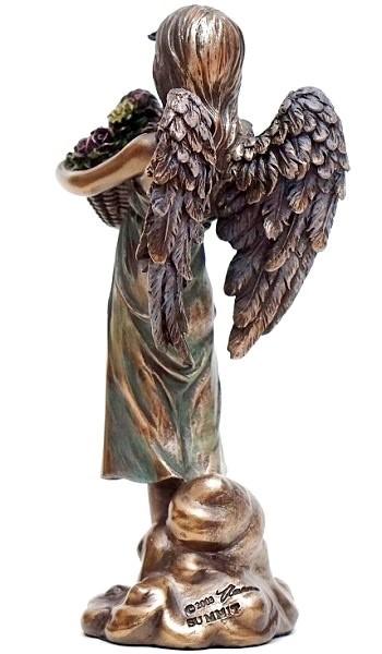 Dejlig ENGLE FIGUR | Engel figurine med buket blomster. OH-55